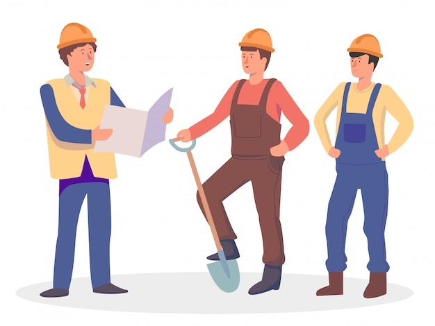 Foreman gives instructions to builders