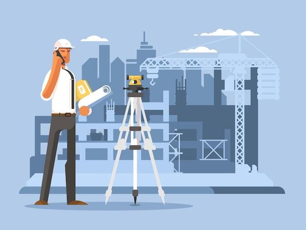 建設フラットデザインビルダーの職長は、サイトのベクトル図で作業します