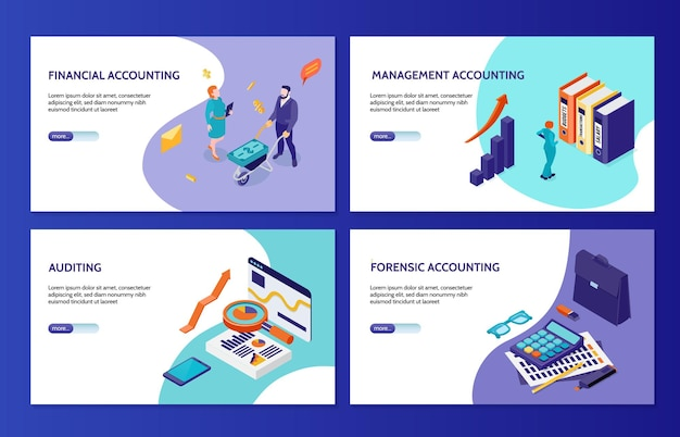 Forensic financial and management accounting and auditing horizontal banners  set isometric