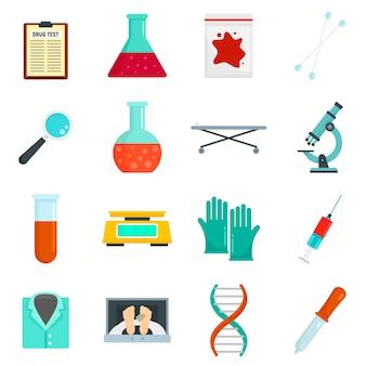Forensic laboratory icons set