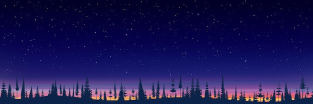 Forest against the background of the evening sky with stars