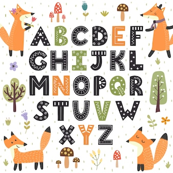 Forest alphabet with cute foxes. hand drawn letters from a to z