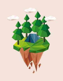 森林とキャンプの低ポリ