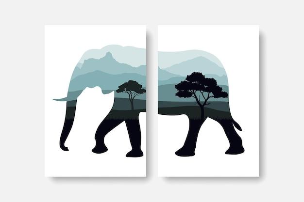 象のシルエットの壁のアートプリントで森と山のパノラマ
