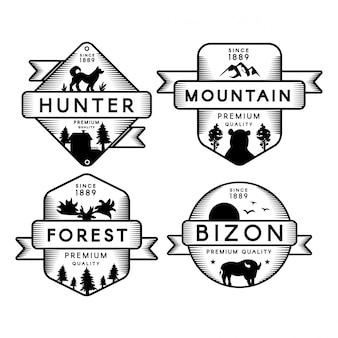 Лес и горный набор логотип