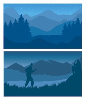 Лес и горы с человеком, идущим с абстрактными пейзажами