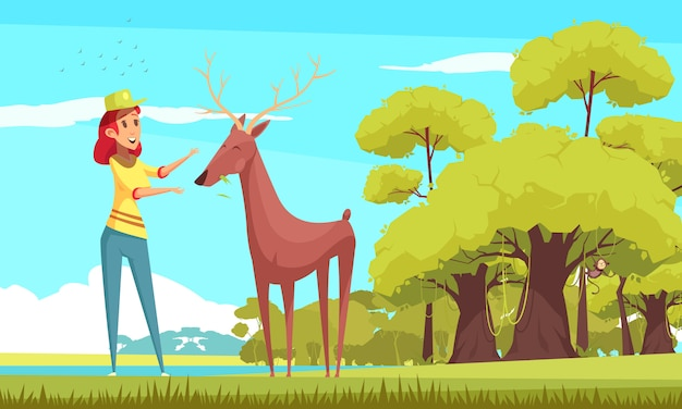 Forest animal feeding cartoon illustration