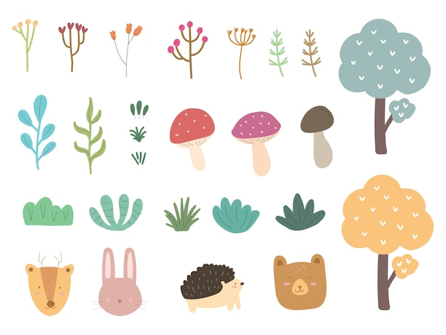 Forest animal and floral tree collection