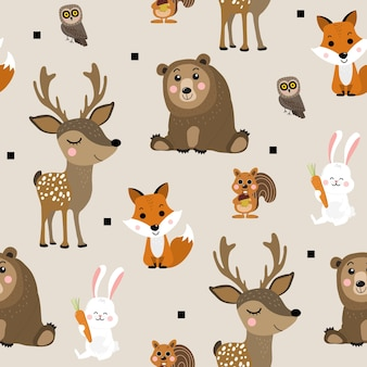 Forest animal seamless pattern
