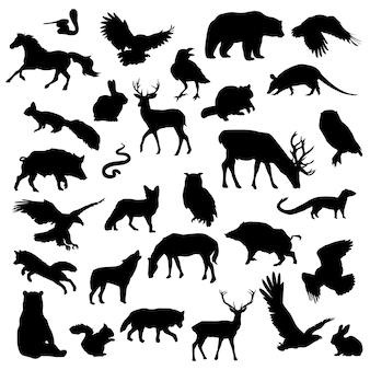 Forest animal set silhouette clip art scrapbook vector