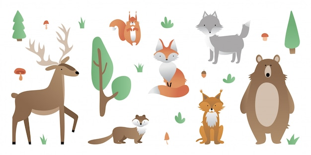 Forest animals. bear, wolf, fox, deer, lynx, squirrel, marten. tree, bush, grass, mushroom, acorn.