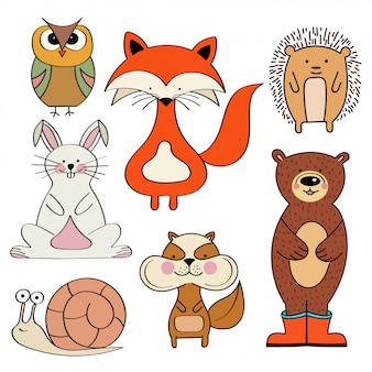 Forest animals collection isolated on white background