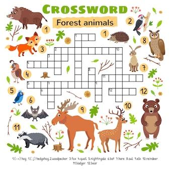 숲 동물 크로스 워드 퍼즐. 미취학 아동 활동 워크시트용.