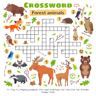Forest animals crossword. for preschool kids activity worksheet.