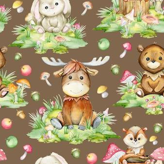 Лес, животные, лось, заяц, медведь, барсук, мультяшном стиле, на коричневом фоне. акварель, бесшовный образец