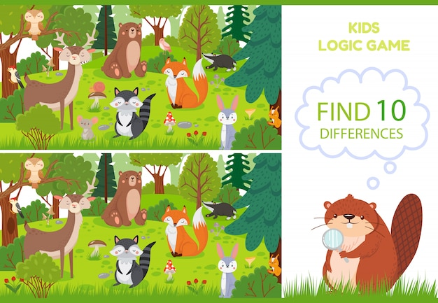 Forest animals find differences game. educational kids games characters, woodland animal and wild forests  cartoon illustration