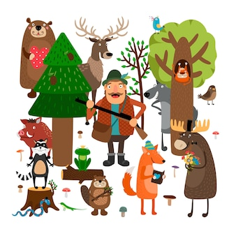 Forest animals and hunter illustration set