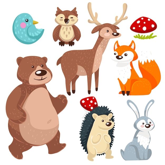 Forest animals and mushrooms, woodland creatures isolated. rabbit and hedgehog, friendly bear and bullfinch bird, owl and deer. sitting fox with furry tail, wildlife characters. vector in flat style