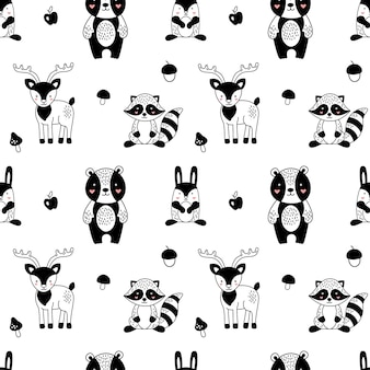 Forest animals pattern in scandinavian style for children.