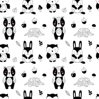 Forest animals pattern in scandinavian style for children.