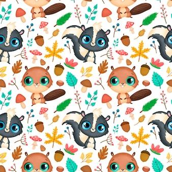 숲 동물 완벽 한 패턴입니다. 비버와 스컹크 패턴.