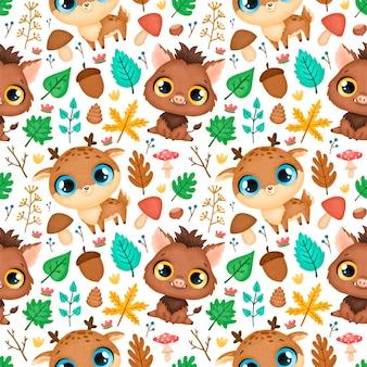 숲 동물 완벽 한 패턴입니다. 사슴과 멧돼지 패턴.