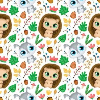 숲 동물 완벽 한 패턴입니다. 고슴도치와 토끼 패턴.