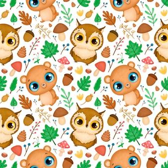 숲 동물 완벽 한 패턴입니다. 올빼미와 곰 패턴.
