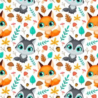 숲 동물 완벽 한 패턴입니다. 늑대와 여우 패턴.
