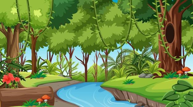 昼間の風景シーンの森 Premiumベクター