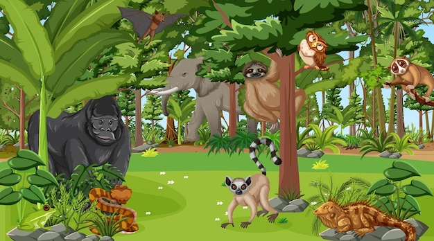 さまざまな野生動物がいる昼間の森