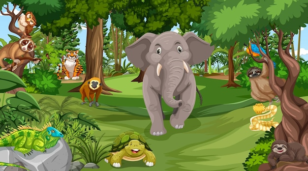Лес в дневное время с множеством разных диких животных