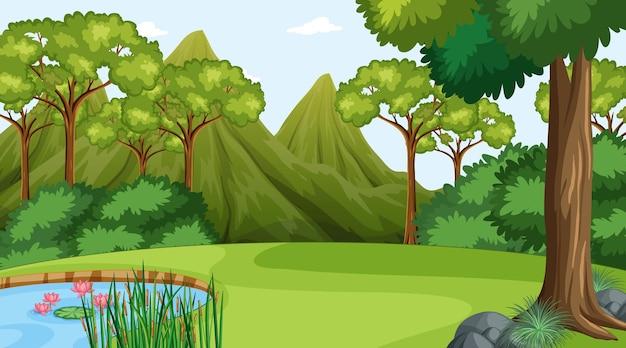 다양한 숲 나무가 있는 낮 장면의 숲