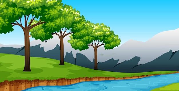 많은 나무와 강 숲 배경 장면