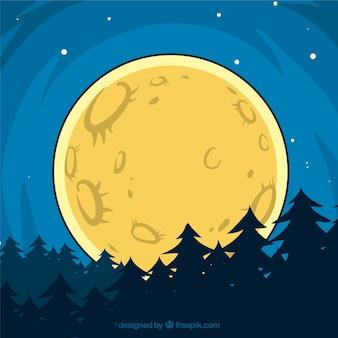 Лес фон с луны нарисованы вручную
