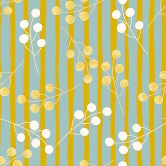 임의의 오렌지와 흰색 딸기 모양 숲 식물학 원활한 패턴