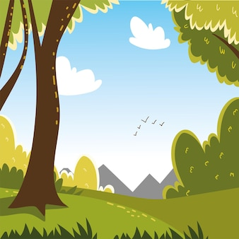 숲 부시 필드 나무 새