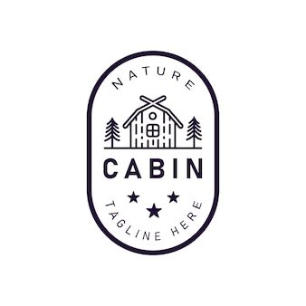 Forest cabin logo emblem vector illustration with cabin and pine trees retro hipster line art