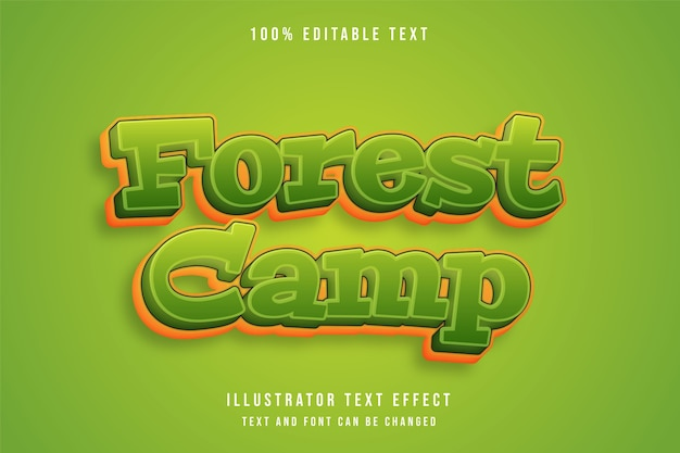 Forest camp,3d editable text effect green gradation yellow comic effect style