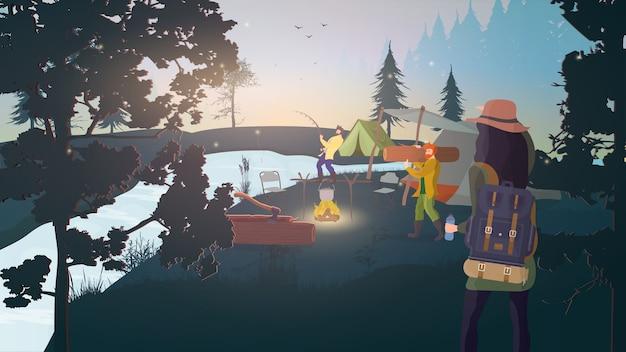 Лесной лагерь. отдых в лесу с палатками. еда на костре, рыбалка, рыбак, лесоруб.