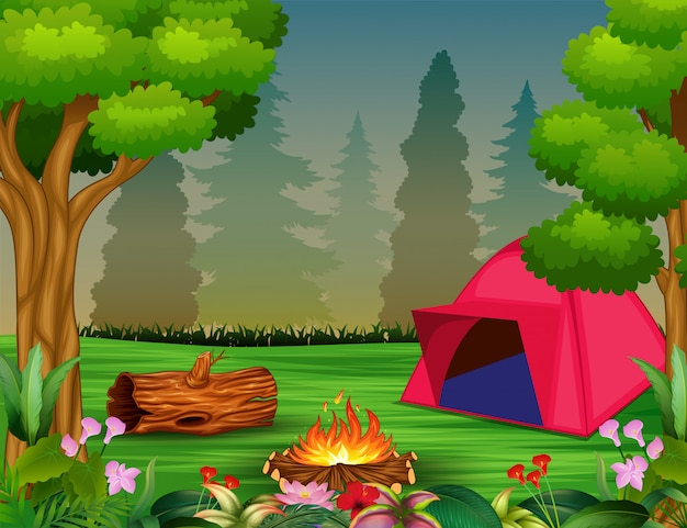 Forest camping concept with pink tent