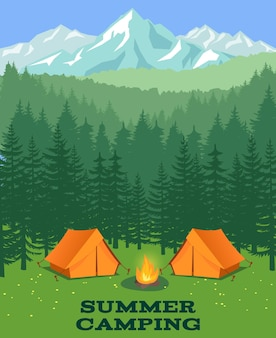 Forest camping  illustration. tourist tent on glade. adventure and rest in summer wood