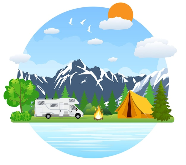 Forest camping landscape with rv traveler bus in flat design.