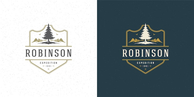 Forest camping logo emblem outdoor adventure leisure vector illustration mountain and pine tree