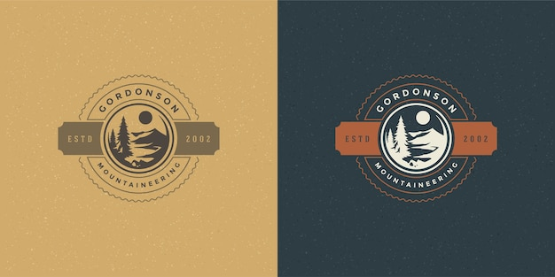 Forest camping logo emblem outdoor hike illustration set