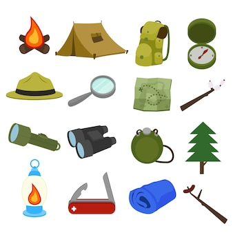 Forest camping mountain adventure clip art