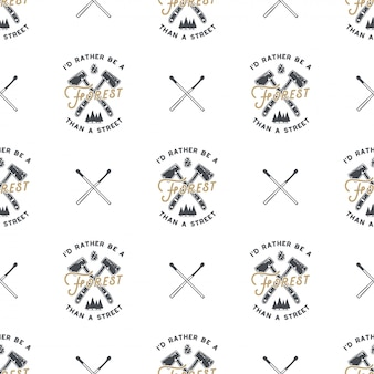 Forest and camping seamless pattern with axes and trees