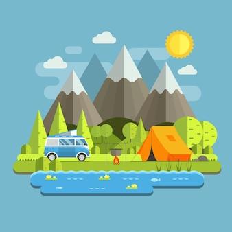 산악 호수 지역에서 rv 캠핑카 버스와 관광 텐트가 있는 숲 캠핑 여행 풍경