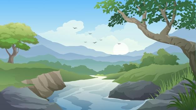 Лесной мультяшный пейзаж с ручьем и горами