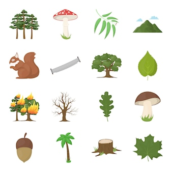 Forest cartoon vector icon set. vector illustration of forest .